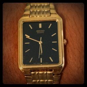 Seiko gold tone mens watch